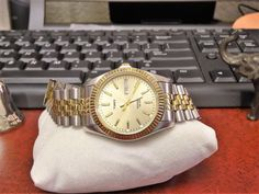 Timex Indiglo Oyster 30M Water Resistant Quartz Mens Watch w/ 18mm Two Tone Band #Timex #Luxury