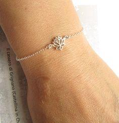 Silver Lotus Bracelet Sterling Silver Bracelet by UESJewelryStudio