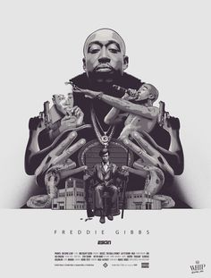 Poster presenting the rapper FREDDIE GIBBS from Gary, Indiana. Newton from The Black Panther Party is tattooed on Gibbs' back. Then, you can see all the aspects of Gibbs life i… Freddie Gibbs, Black Panther Party, Rap Beats, Hip Hop Albums, Graphic Design Illustration, Black History, Album Covers, Movie Stars, Comic Art