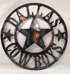 24 clear coated wall hanging Dallas Cowboys torched wall art cut with cnc plasma  This is made from metal cut from 18 Guage steel Perfect gift
