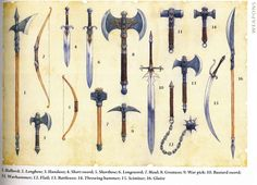 Weapon Illustrations from the DND 4th Edition Player's Handbook Weapon Illustrations from the 4th Edition Player's Handbook