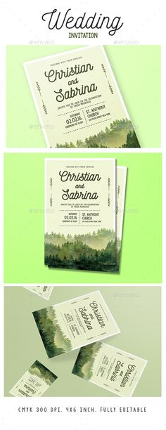 Watercolor Forest Wedding Invitation Template PSD. Download here: http://graphicriver.net/item/watercolor-forest-wedding-invitation/15833104?ref=ksioks