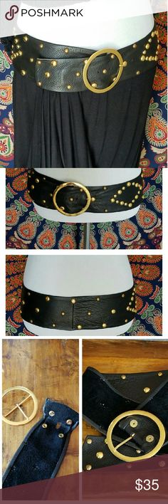 """Vtg 90's Rocker Chic Studded Leather Hip Belt Supple soft Italian leather with gold tone studs and removable gold tone buckle.  MEASUREMENTS - Overall length 42"""" x 3.5"""" width (with buckle)- Buckle alone 3.75"""" diameter - Waist adjusts from approximately 34"""" to 38""""  MATERIAL - 100% Genuine Leather Accessories Belts"""