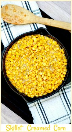 Skillet Creamed Corn - This recipe couldn't be easier. It's made with just a handful of ingredients and tastes so much better than the creamed corn from a can. Everyone is going to love this version of creamed corn. Corn Recipes, Other Recipes, Great Recipes, Dinner Recipes, Delicious Recipes, Favorite Recipes, Good Food, Yummy Food, Tasty