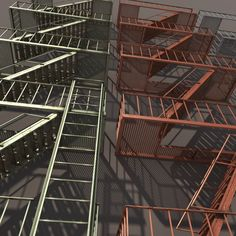 Buy Fire Escape Stairs Low Poly by Cerebrate on A model of a low poly Fire Escape Stairs. Model included 3 type of textures: Green, Red and Gray. The model inc. Stairs Graphic, Types Of Texture, Low Poly 3d Models, Fire Escape, 3d Projects, Red And Grey, Graphic Illustration, 3d Printing, Building