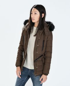 Image 2 of DOWN ANORAK WITH FURRY HOOD from Zara