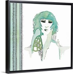 Lady in Green ~ Framed Wall Art by Designer Shell Rummel for #greatbigcanvas #shellrummel All artwork ©Michelle Rummel / Shellartistree LLC #wallart #canvas #interiordesign #homedecor