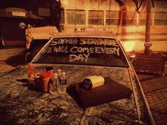 Walking Dead.  Write it on your car.. outside your Zombie haunt.