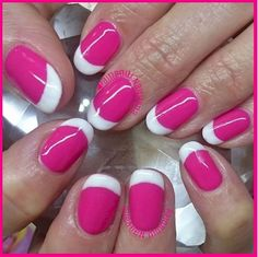 17 French Nails With a Twist - Colorful pink and white.