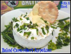 Baked Camembert Appetizer ~ Garlic & White Wine make this a winning, gooey cheese appetizer or snack Cheese Appetizers, Appetizers For Party, Baked Camembert, Quick Recipes, Easy Desserts, Easy Meals, Snacks, Baking, White Wine