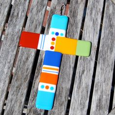 Items similar to Wall Cross Fused Glass Cross - Rainbow of Colors Christian Gift - Made to Order on Etsy Fused Glass Jewelry, Fused Glass Art, Stained Glass, Class Projects, Projects To Try, Glass Backsplash Kitchen, Wall Crosses, Christian Gifts, Glass Ornaments
