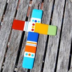 Wall Cross Fused Glass Cross