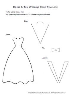 DIY Wedding Card: Dress  Tux Trifold {+ Printable} - Practically Functional