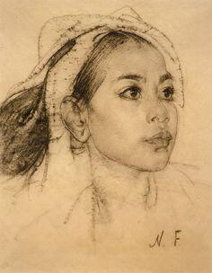 Nicolai Fechin • Фешин Николай Иванович (1881-1955) | Девочка с острова Бали (После 1938)