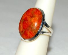 Vibrant Red Orange Apple Coral Oval Ring Size by WindstoneDesigns, $38.95