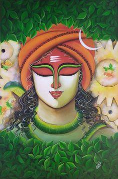Shiva Art, Krishna Art, Hindu Art, Krishna Leela, Lord Krishna, Black Canvas Paintings, African Art Paintings, Lord Shiva Painting, Ganesha Painting