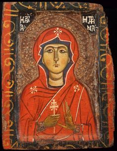 hexennacht:  Saint Marina, Lebanon, (possibly Tripoli), 13th century, tempera and metal leaf on wood, 8-½ x 6-3/8 x 7/8 inches. The Menil Collection, Houston