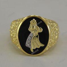 "14k Yellow Gold Plated Round Diamond Men's ""AQUARIUS SIGN"" Ring In Black Enamel #Affoin8 #MensAQUARIUSSIGNBandRing"