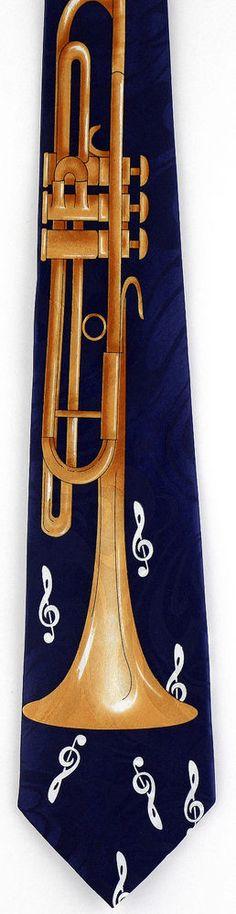 New Trumpet Solos Mens Necktie Musical Instrument Trumpets Blue Music Neck Tie #StevenHarris #NeckTie