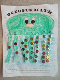 printable of adorable octopus math craft. Chipman's Corner Preschool: O is for Octopus MathFree printable of adorable octopus math craft. Chipman's Corner Preschool: O is for Octopus Math Letter O Activities, Preschool Letters, Preschool Classroom, Kindergarten Math, Preschool Activities, Beach Theme Preschool, Daycare Curriculum, Vocabulary Activities, Childcare