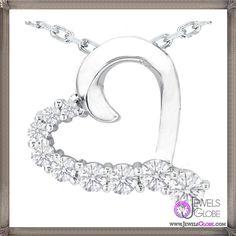 Nine Diamond Heart Pendant in 14 Karat White Gold