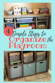 Follow these four simple steps to declutter & organize a playroom or play area. DIY ideas for playroom storage & organization that are realistic & easy! #diyorganize #playroom #momhacks #declutter