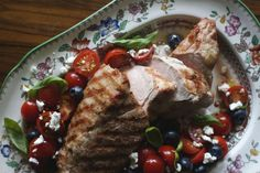 Grilled Pork Tenderloin with Goat Cheese, Tomato, and Blueberry Salad on Food52