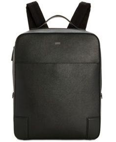Hugo Boss Men's Leather Digital Backpack - Black