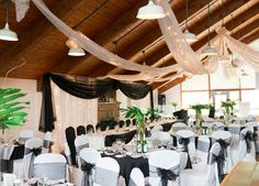 Black Donald's Room Indoor Reception Venues at Calabogie Peaks Resort Indoor Wedding Receptions, Unique Wedding Venues, Wedding Reception Venues, Wedding Themes, Wedding Ideas, Rustic Charm, Table Decorations, Celebrities, Country Weddings