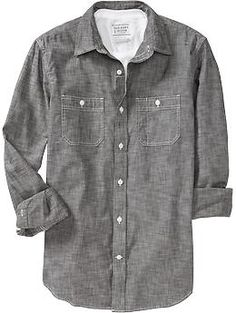 Chambray Shirt in grey for either Riley or Dustin to wear. Would pair with either khakis or dark blue denim.