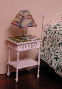Green tiled white wicker table.  1 to 12 by AuntElliesMiniatures, $23.50