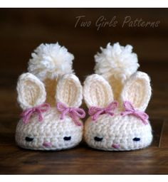 Crochet patterns baby booties Classic Year-Round Bunny House Slippers - Pattern number 204 Instant Download $5.50