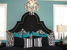 Modern Chic Home - bedrooms - Kelly Wearstler, Dorothy Draper, bedroom, teal, black, headboard, chandelier, black and white, black headboard, black tufted headboard,