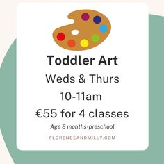 Our Toddler art class starts this week at 10am so get in touch if you want to reserve a spot! Studio opens at 9.30am but PM to contact Laura directly! Our Toddler art class is such messy fun and the best bit is we do the clean up! join us for a morning of creative fun and craft memories together! We have plenty of space for buggies baby changing facilities and high chairs available. This class is located in our Laurel rooms on the first floor up a flight of stairs and each participant will…