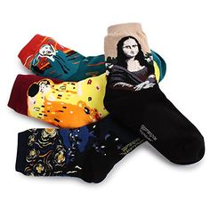 Famous Painting Socks Pack of 4pairs Mona Lisa Scream Starry Night Kiss women girls fashion socks art