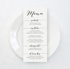 Printable Custom Wedding Menu Card DIY Tea by KarlyKDesignShop