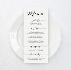 Printable Custom Wedding Menu Card DIY Tea by KarlyKDesignShop