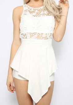 3b2ae885ec White Round Neck Lace Backless jumpsuit 5.83 Backless Jumpsuit