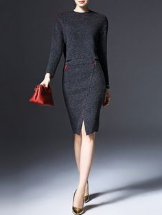 Two Piece Knitted Crew Neck Long Sleeve CasualTwo Piece Midi Dress