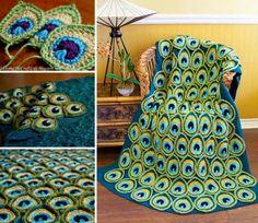 Colcha em Crochê a Pena do Pavão Padrão - / Bedspread Crochet the Peacock Feather Standard -