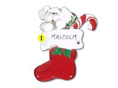 Personalized White Dog in Stocking Christmas Ornament