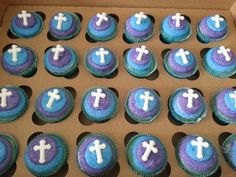 Cotton Candy communion themed cupcakes with teal and purple for my daughter's communion