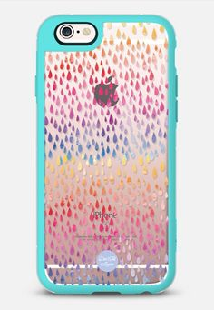 WATERCOLOR RAIN - New Standard iPhone Case in Teal & Clear by @vaidadta | @casetify