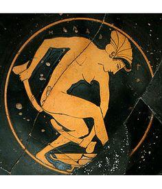 Hetaira con olisbos (falos de cuero) Cerámica griega Greek Mythological Creatures, Greek Pottery, Black Figure, Satyr, Greek Art, Bottle Painting, Pottery Painting, Ancient Greece, Ancient Art