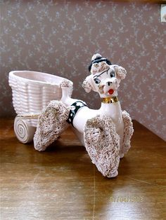 Pink Poodle Figurine Planter by Lefton ca. by CarolynsCollections, $18.00