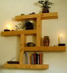 Wood shelf made out of reclaimed wood pieces