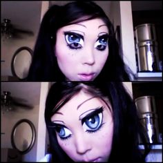 Anime eyes with MAC makeup. Freaky but interesting to watch on YouTube.