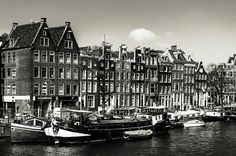 Typical Dutch Buildings in Amsterdam. Monochrome by Jenny Rainbow.View on typical Dutch buildings from river side in Amsterdam at sunny spring day, black and white rendtion. Urban Photography, Fine Art Photography, Street Photography, Travel Photography, Art Prints For Home, Home Art, Amsterdam Holland, Spring Day, Black And White Photography