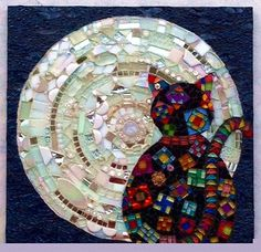 Cat Moon Mosaic Art Claire Roche ... http://cielcharlotte.com/artwork/2581250_Dreaming_of_Spring_by_Claire_Roche_NJ.html
