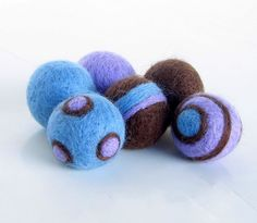 Lavender Baby blue and Dark Brown Felted by StemellinaSupplies